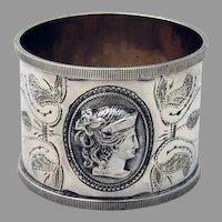 Female Liberty Medallion Napkin Ring Coin Silver Mono