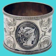 Female Liberty Medallion Napkin Ring Coin Silver Mono