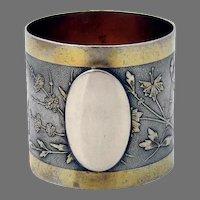 Aesthetic Japanese Motif Napkin Ring Wood Hughes Sterling Silver 1870