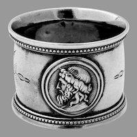 Roman Male Medallion Napkin Ring Coin Silver Mono Frank