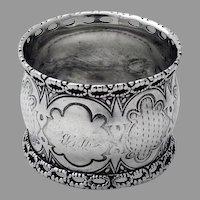 Aesthetic Napkin Ring Openwork Border Coin Silver 1870 Mono WB