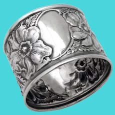 Repousse Floral Napkin Ring Sterling Silver No Mono