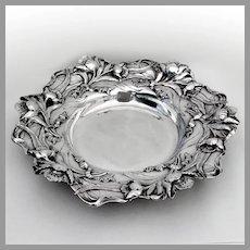 Large Floral Serving Plate Bowl Black Starr Frost Sterling Silver 1895