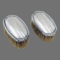 Engine Turned Small Clothes Brushes Pair Webster Sterling Silver