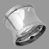 Banded Border Napkin Ring Sterling Silver No Mono