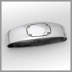 Arts And Crafts Oval Napkin Ring Randahl Sterling Silver No Mono