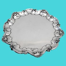 English Footed Salver Scroll Shell  Border Barker Bros Sterling Silver 1898