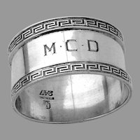 Greek Key Border Napkin Ring Sterling Silver Mono MCD
