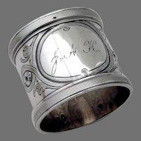 Ornate Napkin Ring Wood Hughes Sterling Silver Mono JNK