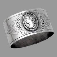 Medallion Napkin Ring Oval Form Coin Silver No Mono