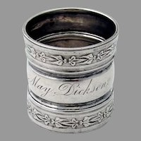 Tall Napkin Ring Foliate Borders Coin Silver Mono May Dickson