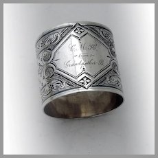 Ornate Dotted Napkin Ring Coin Silver Mono CMH