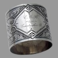 Ornate Dotted Napkin Ring Coin Silver Mono CMH