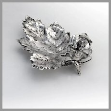 Figural Baby On Leaf Nut Candy Bowl Continental European Silver