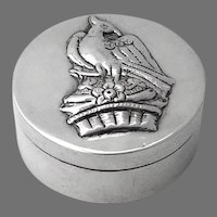 Round Small Box Embossed Bird Sterling Silver