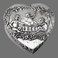 Cherub Heart Pill Box German 800 Silver Gilt Interior