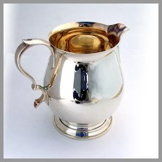 Tiffany Queen Anne Water Pitcher Gilt Interior Sterling Silver