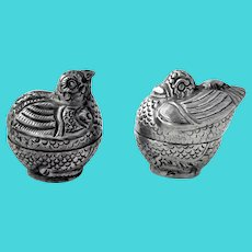 Small Figural Bird Boxes Pair 900 Silver