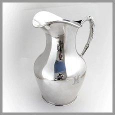Water Pitcher Figural Handle Eoff Shepard Sterling Silver 1855 Mono MH
