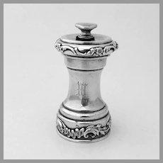 Scroll Floral Pepper Grinder Shiebler Sterling Silver Mono W