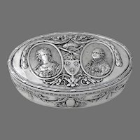 Hanau Oval Box Napoleonic Motif German 800 Silver
