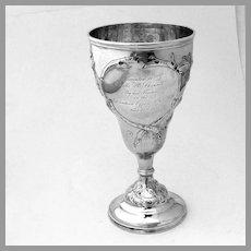 Rail Road Presentation Goblet Grape Designs Tifft Whiting Coin Silver Mono 1854