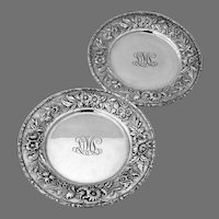 Repousse Bread Butter Plates Pair Kirk Son Sterling Silver Mono LML