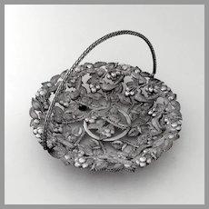Openwork Ornate Basket Cherries Birds Design Silverplate