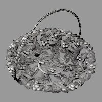 Openwork Ornate Basket Cherries Birds Design Silverplate