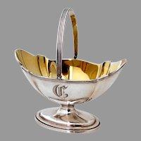 Plymouth Sugar Basket Swing Handle Gorham Sterling Silver 1911 Mono C