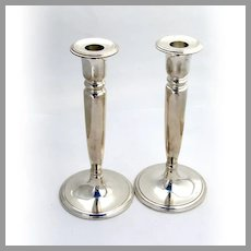 Tiffany Colonial Revival Candlesticks Pair Bobeche Cups Sterling Silver