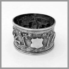 Indian Wild Animal Napkin Ring Shield Cartouche 900 Silver