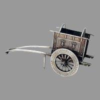 Large Japanese Rickshaw Carriage Figurine Sterling Silver