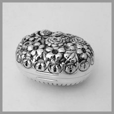 Repousse Floral Soap Box Whiting Sterling Silver