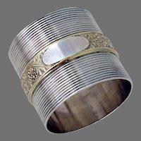 Large Napkin Ring Gilt Floral Band Gorham Sterling Silver 1874