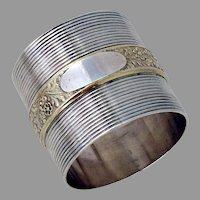 Large Napkin Ring Gilt Floral Band Gorham Sterling Silver 1874