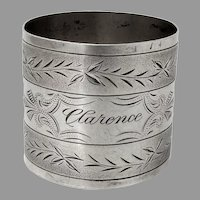 Bright Cut Engraved Napkin Ring Coin Silver Mono Clarence
