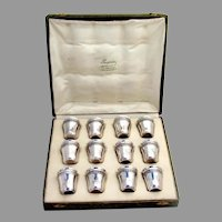 French 12 Liquor Shots Boxed Set Boucher Sterling Silver 1900 Mono MB