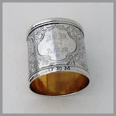 Engraved Architectural Napkin Ring Coin Silver Mono JEW AMM JEM