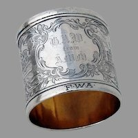 Engraved Architectural Napkin Ring Coin Silver Mono HAW AMM FWA