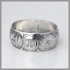 Nursery Rhyme Napkin Ring William Kerr Sterling Silver Mono CWC