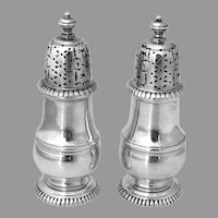 Salt Pepper Shakers Pair Currier Roby Sterling Silver No Mono