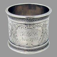 Aesthetic Napkin Ring Bird Engraving Coin Silver Mono KGC 1985