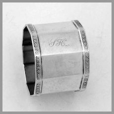 Dual Polygon Shaped Napkin Ring Coin Silver Mono SH LKM