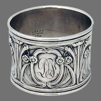Art Nouveau Napkin Ring Gorham Sterling Silver Mono DF