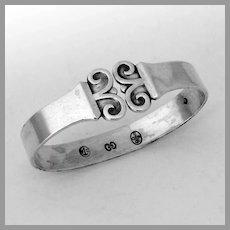 Danish Scroll Motif Napkin Ring Carl Cohr 830 Silver Mono Eva