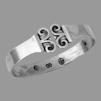 Danish Scroll Motif Napkin Ring Carl Cohr 830 Silver Mono Eva