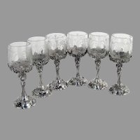 German Baroque Style 6 Cordial Cups Set Schleissner Son 800 Silver Etched Glass