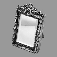 Miniature Mirror Ornate Frame Sterling Silver Mayer Bros