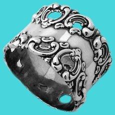 Ornate Napkin Ring Openwork Border Sterling Silver